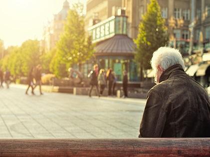old man sitting senior retired