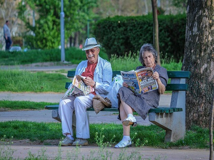 old couple sitting on the bench