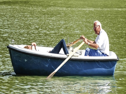 old man boating